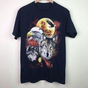 Vintage wolf tee shirt blue size large